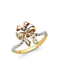 Paradise Jewelers 14K Solid Yellow Gold Tri-Color Cubic Zirconia Twisted Ribbon Ring
