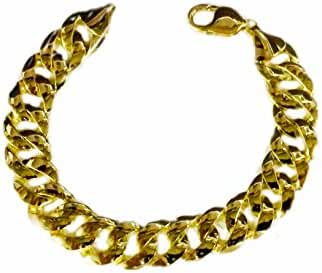 14K Solid Yellow Gold Heavy Handmade Curb Link Mens Bracelet 13.7Mm 8.5