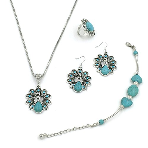 Cute Three Person Costume Ideas (Peacock Simulated Turquoise Style Rhinestone Earring Ring Bracelet Necklace Women Alloy Jewelry Set)