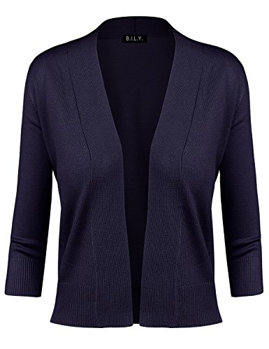 - BH B.I.L.Y USA Women's Classic Open Front Cropped Cardigan Navy X-Large