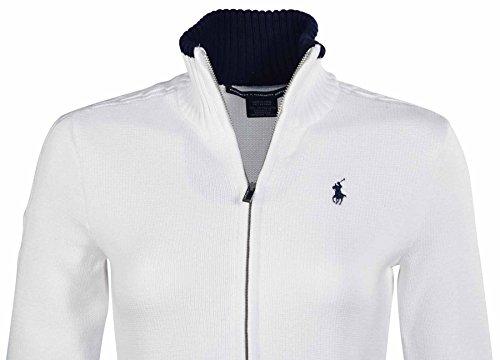 Polo Ralph Lauren Women's Sport Full Zip Pony Mock Sweater-White-Large