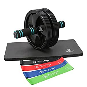 5BILLION Ab Wheel Fitness Equipment Kit with Knee Pad and Resistance Bands-Abdominal Wheel Exercise Workout Equipment for Core Strength Training