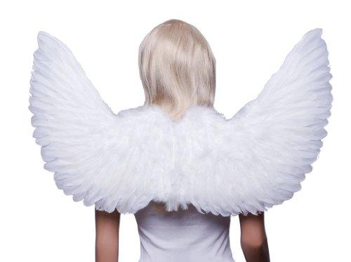 FashionWings (TM) White Sidespan Upswing Costume Feather Angel Wings (Large White Feather Angel Wings)