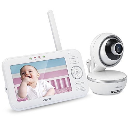 "VTech VM5261 5"" Digital Video Baby Monitor with Pan & Tilt Camera, Wide-Angle Lens and Standard Lens, White For Sale"