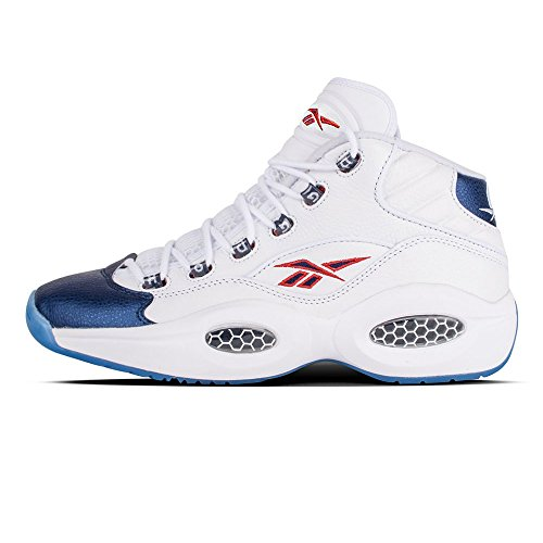 - Reebok Question Mid Mens in White/Pearlized Navy/Red, 8.5