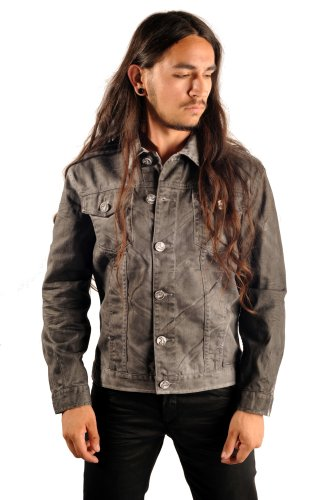 Coated Denim Jacket Rocker Jacket Size: Small ()