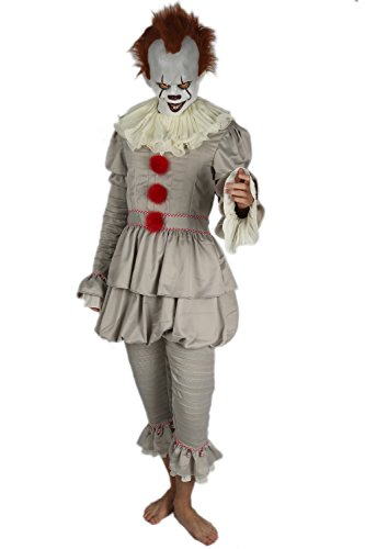 xcoser Clown Mask with Costume Outfit Suit for