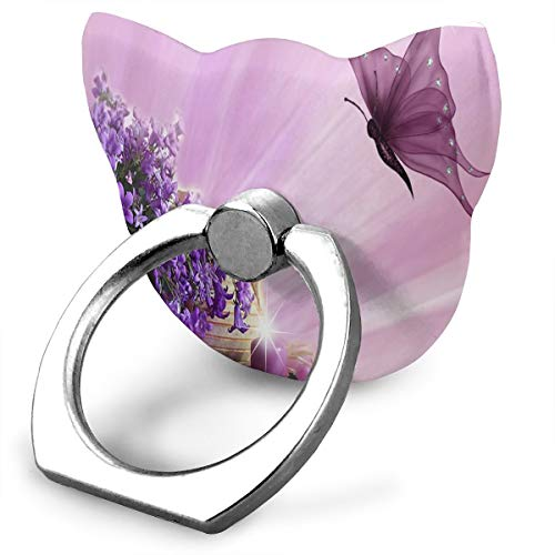 Cell Phone Holder Purple Flower Clipart Butterfly Cat Type Ring Mobile Phone Holder Finger Cat Type Ring Stand for IPad Phone X/6/6s/7/8/8 Plus/7, Galaxy S9/S9 Plus/S8/S7 Android Smartphone