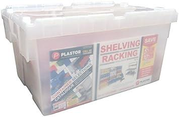 plastor claro plástico 55 litros Heavy Duty cajas de almacenamiento (60 x 40 x 30,6 cm) transparente cajas con tapa abatible, transparente: Amazon.es: Bricolaje y herramientas
