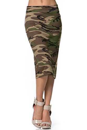 Azules Women's Popular Colour Below The Knee Pencil Skirt (Medium, Camouflage)