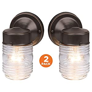 Design House 587311 Jelly Jar 1-Light Outdoor Wall Light, 2-Pack, Clear Glass, Oil Rubbed Bronze