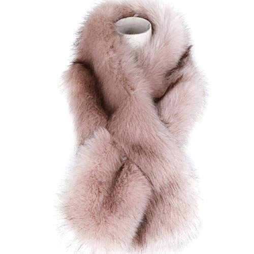 - Dikoaina Women's Winter Fake Faux Fur Scarf Wrap Collar Shawl Shrug