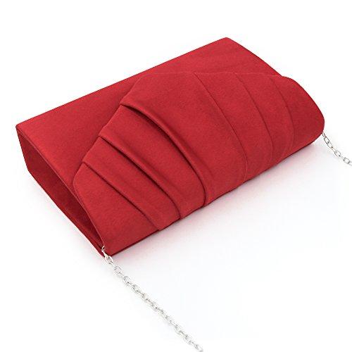 ebb428c3bf4 Cartera Noche Ante Mujer De Rojo Bolsa Embragues Mano Plisado Sobre  Milisente qS8axPwfa
