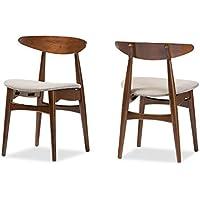 Baxton Studio Set of 2 Juliette Mid-Century Modern Dining Chairs, Medium, French Oak