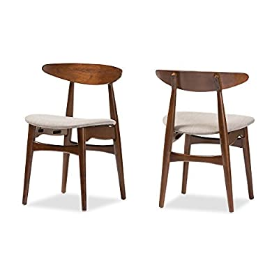 Baxton Studio Set of 2 Juliette Mid-Century Modern Dining Chairs, Medium, French Oak - Mid-century modern 2-piece dining chair set Materials: Solid rubber wood, fabric, foam Padded seat with beige fabric upholstery. Bent plywood backrest with shapely legs - kitchen-dining-room-furniture, kitchen-dining-room, kitchen-dining-room-chairs - 41WGe84o cL. SS400  -
