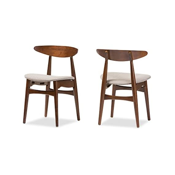 Baxton Studio Set of 2 Juliette Mid-Century Modern Dining Chairs, Medium, French Oak - Mid-century modern 2-piece dining chair set Materials: Solid rubber wood, fabric, foam Padded seat with beige fabric upholstery. Bent plywood backrest with shapely legs - kitchen-dining-room-furniture, kitchen-dining-room, kitchen-dining-room-chairs - 41WGe84o cL. SS570  -