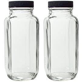 "8 oz Clear Thick Plated Glass French Square Empty Bottle Jar with Lid (2 Pack) Perfect for Home, Travel, Juicing, Kombucha 78 Includes 2 - 8 oz French Square Thick Glass Bottles 8 oz Clear Glass French Square Empty Bottle Jars with Lids for Home and Travel, Juicing, Canning, Kombucha Measurements: Width: 2.20"" x Height: 5.40"""