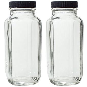 8 oz Clear grueso chapado en francés – Tarro cuadrado botella vacía de cristal con tapa