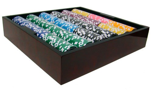 750 Ct Ultimate 14 Gram Poker Chip Set in Mahogany Wooden Case w// High Gloss Finish Free Dealer Button and Cards