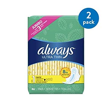 Always Ultra Thin Size 1 Regular Pads with Wings, unscented, 2 Packs of 46