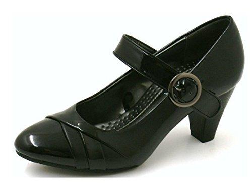 brevetto lavoro Manfield 4a Jane col Style da nero Mary 8 scarpe pompe–Taglia tacco wHqr5XqOnx