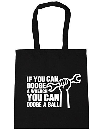HippoWarehouse si puedes Dodge una llave puede Dodge una bola bolsa de compras bolsa de playa 42cm x38cm, 10litros negro