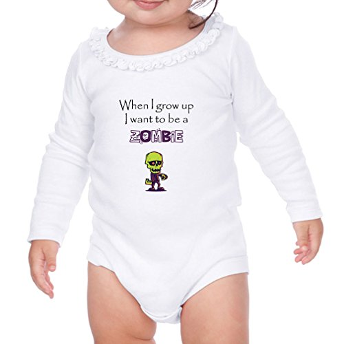 Zombie Dressing Up Ideas (When I Grow Up I Want To Be A Zombie Sunflower Ruffle Long Sleeve Bodysuit White 6 Months)
