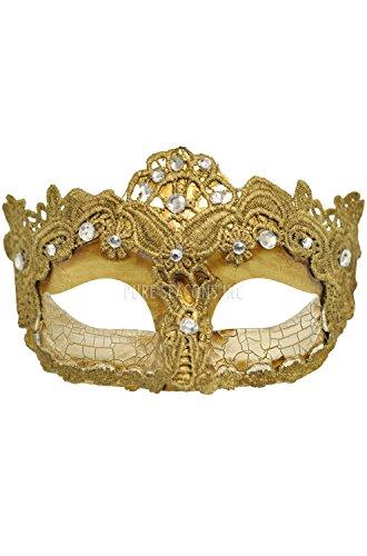 4everStore Macrame Lace & Rhinestones Masquerade Mask -