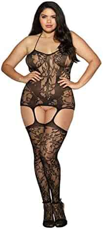 37e18f412ca Dreamgirl Women s Plus-Size Trinidad Halter Garter Dress With Attached  Stockings