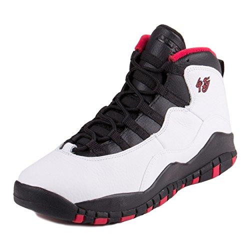 Jordan Nike Kids Air 10 Retro Bg White/Black/True Red Basketball Shoe 6 Kids US by Jordan