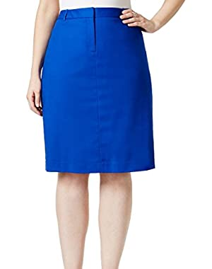 Calvin Klein Womens Plus Straight Pencil Belted Skirt Blue 14W