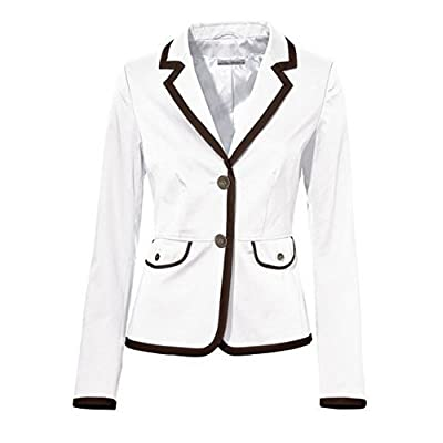 Blazer blazer court de ASHLEY BROOKE en blanc / Taupe