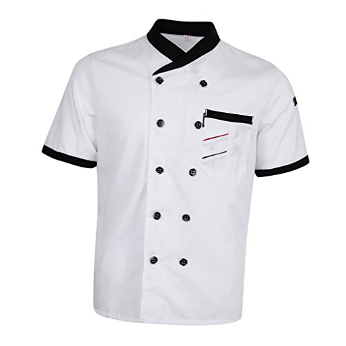 Jacket Executive Chefs (Prettyia Unisex Summer Breathable Executive Chef Jacket Coat Kitchen Bakery Uniform Short Sleeves 5 Colors Chef Apparel M-2XL - White, 2XL)
