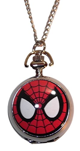 Marvel+Watches Products : Marvel Comic's Spider-Man Mask Face Silvertone Finish Pendant Pocket Watch