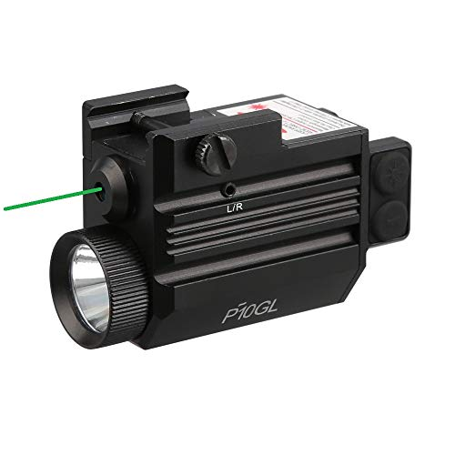 HiLight P10GL 500 lm Strobe Pistol Flashlight & Green Laser Sight Combo (Hard Anodized Aircraft Grade Aluminum USB Rechargeable Built-in Battery) for Compact Pistols Handguns