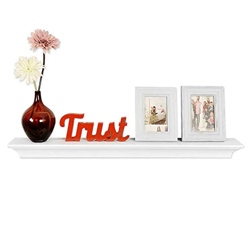 (WELLAND Classic Painted Wall Floating Shelf Crown Molding Mantle Display Ledge Shelves, 36-Inch,)