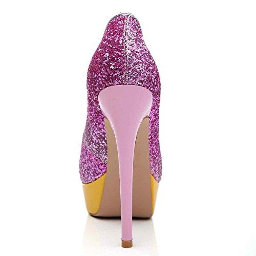 Arc-en-Ciel zapatos de plataforma de la mujer peep toe de tacón alto-purple-us9