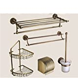 AMEA Bathroom Accessory Set / Antique Brass Towel Bar Antique Brass Wall Mounted 625 x 90x125mm (24.6 x 3.54 x 4.92) Brass / Ceramic / Crystal Antique