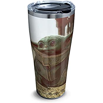 Clear 16 OZ Tervis 1355820 Star Wars Mandalorian Stare Insulated Tumbler with Wrap and Brown Travel Lid