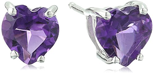 Amethyst Heart Shaped Stud Earrings in 10k White Gold