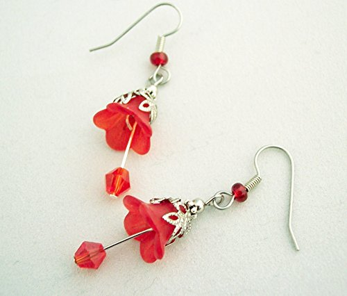 Flower and Crystal Earrings Red
