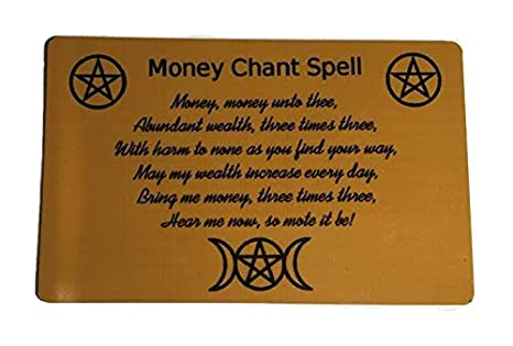 NewAge Designs Money Chant Spell Gold Metal Wallet Purse Insert Card