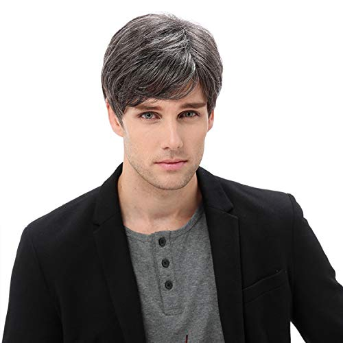 Baruisi Mens Short Gray Wig Replacement Synthetic Costume Halloween Hair Wigs for Male Boy