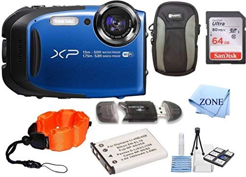 Fujifilm FinePix XP80 Waterproof Digital Camera + 64GB Memory Card+Floating Strap + Replacement NP-45 Bundle kit (Blue)