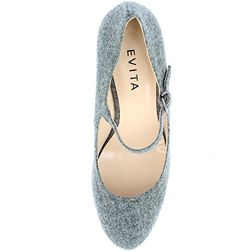 Evita Shoes Bianca Damen Pumps Filz Grau