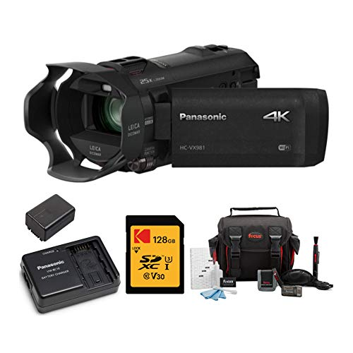 Panasonic HC-VX981K 4K Ultra HD Camcorder Power Pack (VW-PWPK), Kodak 128GB V30 SD Card and Accessory Bundle (4 Items)