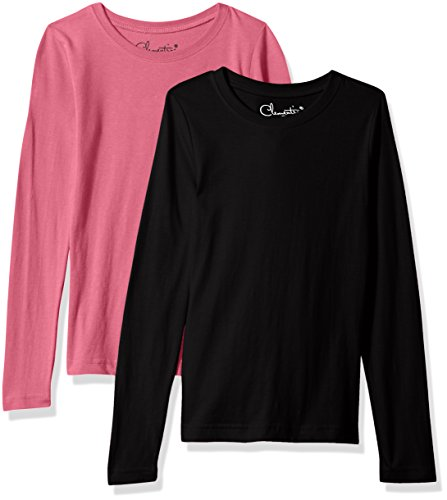 Clementine Girls' Big Everyday T-Shirts Long Sleeve Crew 2-Pack, Black/hot Pink, XL