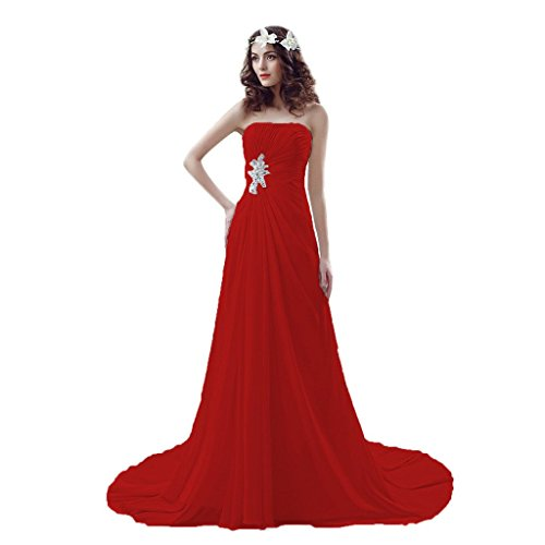 Aurora Bridal Reg; Aurora Reg Mariée; Sweetheart Beach Wedding Dresses Lace-up Beaded Chiffon Gowns Red Robes Chérie De Mariage De Plage Lacées Robes De Mousseline De Perles Rouges