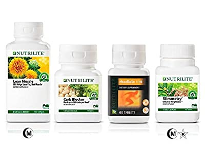 Nutrilite Weight-loss (Bundle) SLIMMETRY Dietary Supplement - Carb Blocker - Rhodiola 110 Supplement & Lean Muscle CLA 500