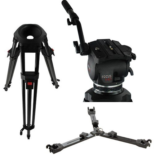 Cartoni Focus HD Fluid Head with 2 Stage 3 Tube Ultra-Light Tripod, Mid-Level Spreader and Soft Case - Black by CARTONI